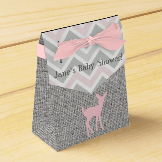 Pink Baby Deer & Grey Chevron/Burlap favour Boxes