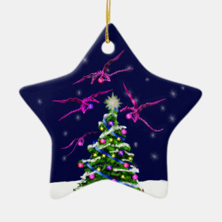 Pink Baby Dragons Encircle a Christmas Tree Christmas Ornament
