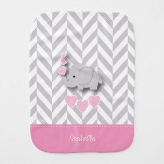 Pink Baby Elephant on Gray Chevron Pattern Burp Cloth