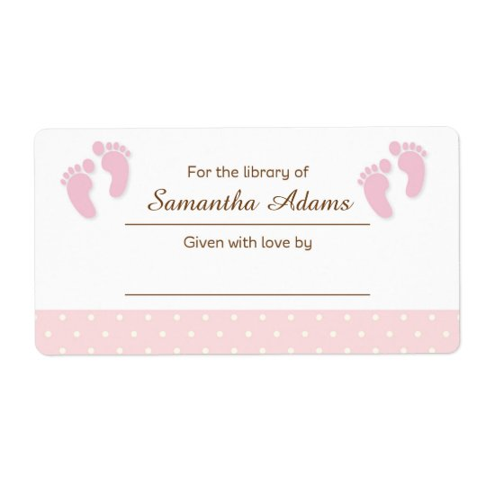 Pink Baby Feet Bookplate Label Sticker Shipping Label