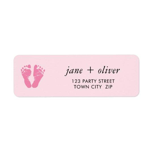 PINK BABY FEET cute foot prints Return Address Label