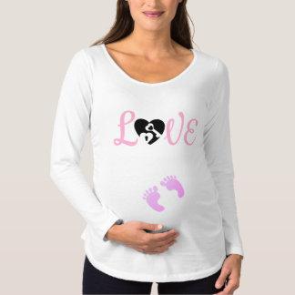 Pink baby feet love maternity shirt