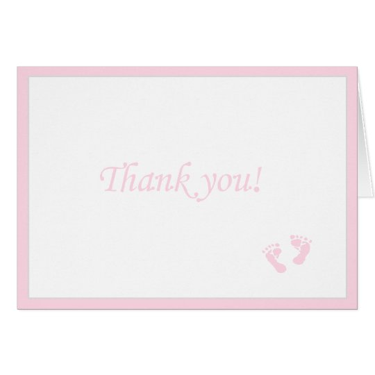 Pink Baby Footprints-Thank You Card