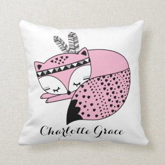 Pink Baby Fox Tribal Woodland Forest Nursery Gift Cushion