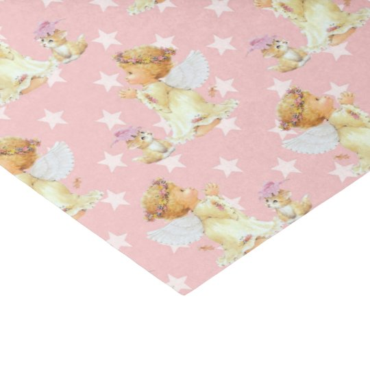 Pink baby girl Angel pattern tissue paper