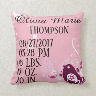 Pink Baby Girl Bird Leaves Flower Floral Birth Cushion