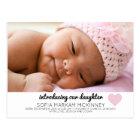 Pink Baby Girl Birth Announcement Photo Postcard