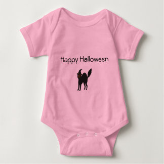 Pink Baby Girl Bodysuit Halloween Cat.