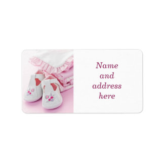 Pink baby girl booties and clothes address label