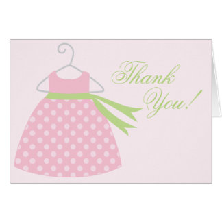 Pink Baby Girl Dress Baby Shower Note Card