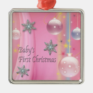 Pink Baby Girl First Christmas Pink First Christma Christmas Ornament
