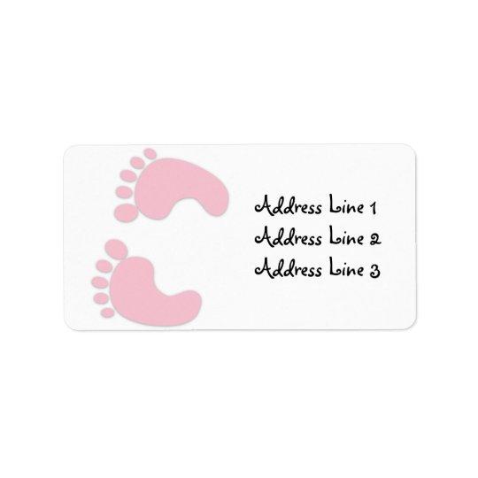 Pink Baby Girl Footprints Address Label