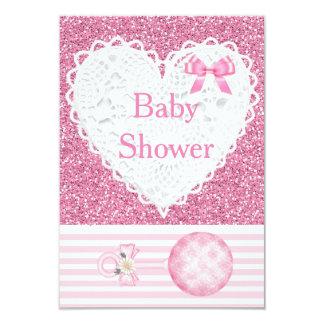 Pink Baby Girl Glitter Baby Shower Invitation