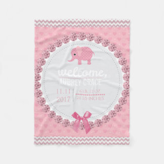 Pink Baby Girl Nursery | Elephant Personalized Fleece Blanket
