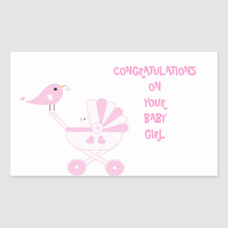 Pink Baby Girl Rectangular Sticker