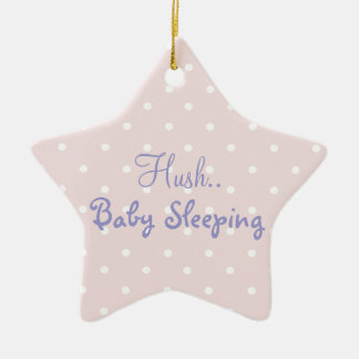 Pink baby girl sleeping door sign christmas ornament