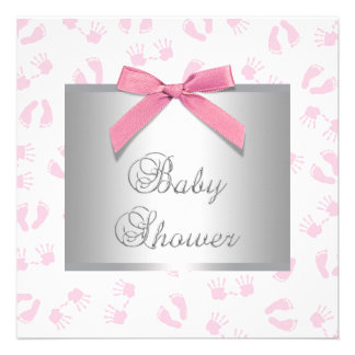 Pink Baby Hands and Footprint Baby Shower Personalized Announcement