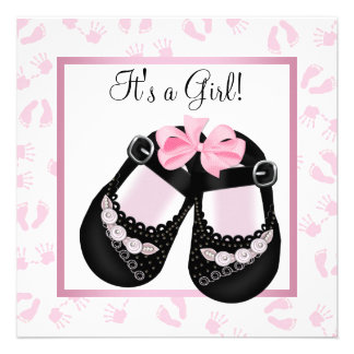 Pink Baby Hands and Footprints Baby Shower Custom Invitations