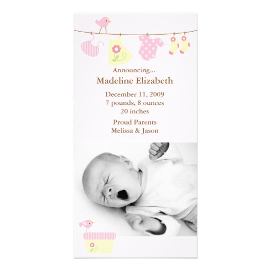 Pink Baby Laundry Birth Announcement Card
