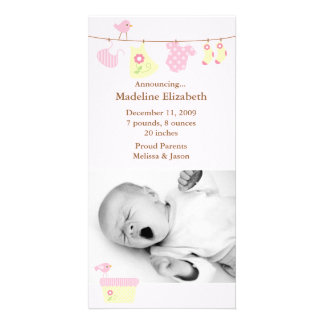 Pink Baby Laundry Birth Announcement Custom Photo Card