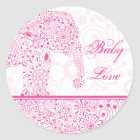Pink Baby Love Elephant Sticker