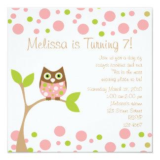 Pink Baby Owl 13 Cm X 13 Cm Square Invitation Card