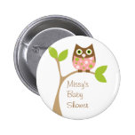 Pink Baby Owl 6 Cm Round Badge