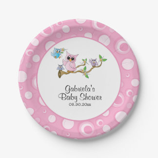 Pink Baby Owl Baby Shower Theme Paper Plate