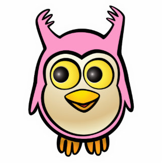 Pink Baby Owl Cartoon Photo Sculpture Key Ring