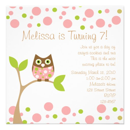 Pink Baby Owl Personalized Invite