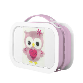 Pink Baby Owl Lunch Box