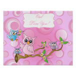 Pink Baby Owl | Nursery Theme Poster