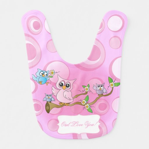 Pink Baby Owl Nursery Theme Bibs