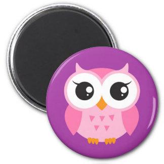 Pink baby owl on purple background fridge magnet