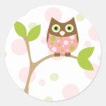 Pink Baby Owl Round Sticker