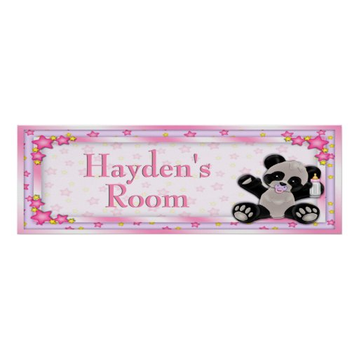 Pink Baby Panda Customisable Room Name Poster