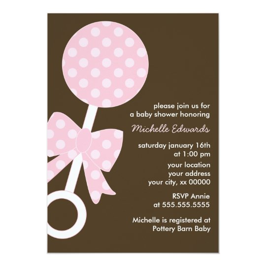 Pink Baby Rattle Girl Baby Shower Card