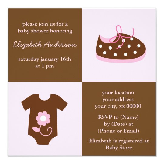 Pink Baby Shoes and Outfit Baby Shower Card
