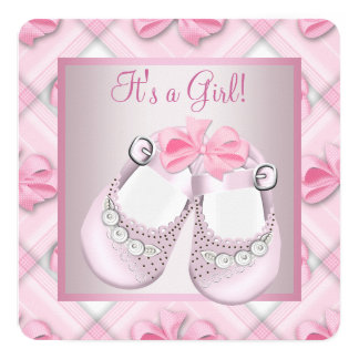 Pink Baby Shoes Pink Baby Girl Shower 13 Cm X 13 Cm Square Invitation Card