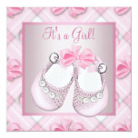 Pink Baby Shoes Pink Baby Girl Shower Personalised Announcement