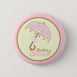 Pink Baby Shower Button - Umbrella