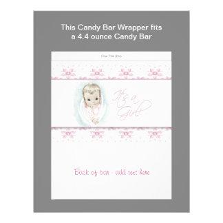 Pink Baby Shower Candy Bar Wrapper 21.5 Cm X 28 Cm Flyer