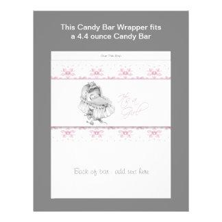 Pink Baby Shower Candy Bar Wrapper Custom Flyer