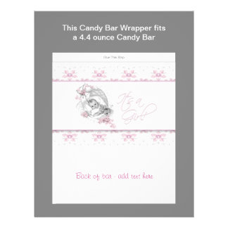 Pink Baby Shower Candy Bar Wrapper Flyer