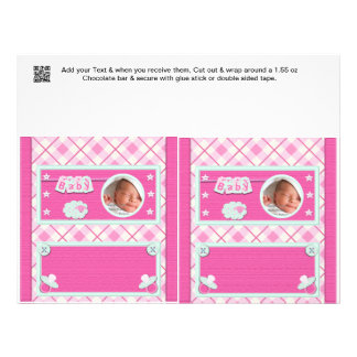 Pink Baby shower Candy Bar Wrappers Party Favors 21.5 Cm X 28 Cm Flyer