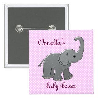 pink baby shower elephant 15 cm square badge