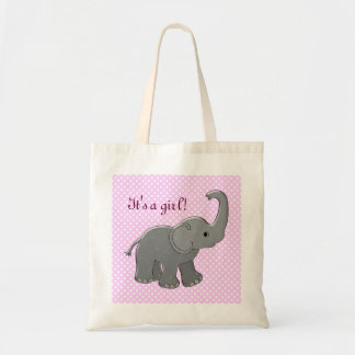 pink baby shower elephant canvas bag