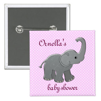 pink baby shower elephant buttons