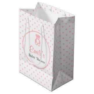 Pink Baby Shower Favor Bag - Girl Teddy Bear