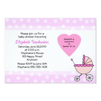 "Pink Baby Shower Invitation Carriage Invitation 5"" X 7"" Invitation Card"